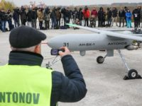 "The initial flight test of the Antonov's prototype strike drone ""Horlytsya"" takes stage at the Hostomel Airport on Nov. 8."