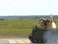 Estación de Armas Remotas PROTECTOR, montada en el vehículo terrestre no tripulado THeMIS